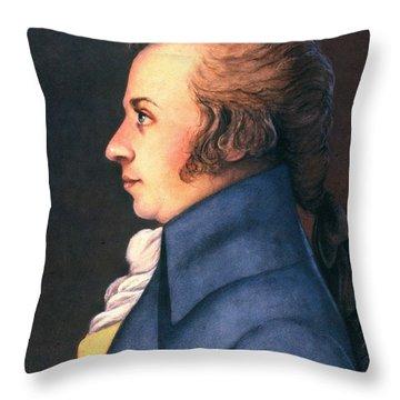 Wolfgang Amadeus Mozart Throw Pillow by Granger