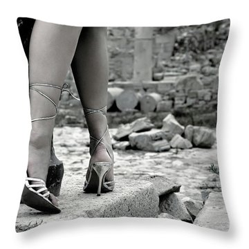 Woman Among Remains Of An Ancient Temple Throw Pillow by Oleksiy Maksymenko
