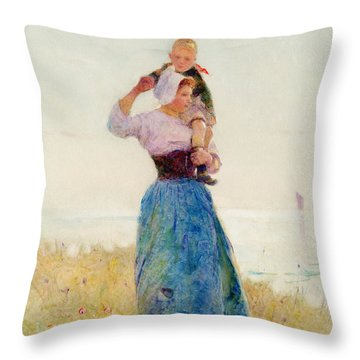Woman And Child In A Meadow Throw Pillow by Hector Caffieri