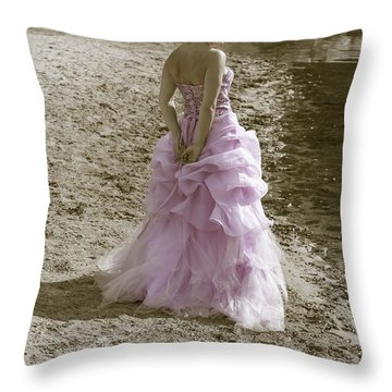 Woman At The Beach Throw Pillow by Joana Kruse