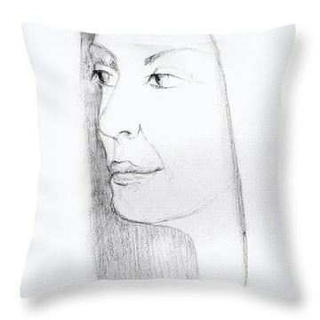 Woman In Black And White Long Hair Red Lips And Shoulders  Throw Pillow by Rachel Hershkovitz
