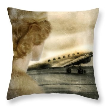 Woman In Fur By A Vintage Airplane Throw Pillow by Jill Battaglia
