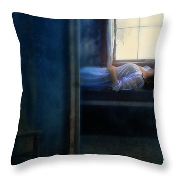 Woman In Nightgown In Bed By Window Throw Pillow by Jill Battaglia