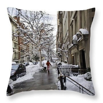 Woman In Striped Pajamas Throw Pillow by Madeline Ellis