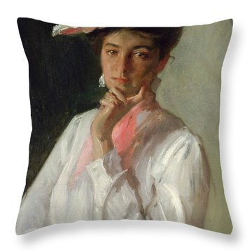 Woman In White Throw Pillow by William Merritt Chase