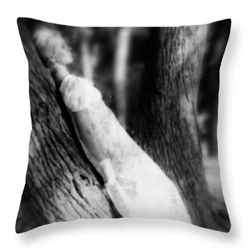 Woman On A Trunk Throw Pillow by Joana Kruse