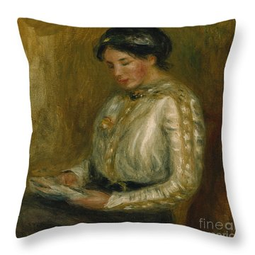 Woman Reading  Throw Pillow by Pierre Auguste Renoir
