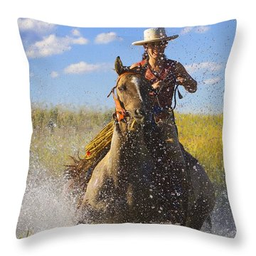 Woman Riding A Horse Throw Pillow by Richard Wear