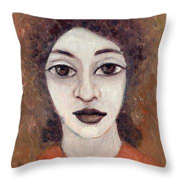 Woman With Large Dark Brown Eyes And Hair Orange Shirt Dark Eyebrows  Throw Pillow by Rachel Hershkovitz