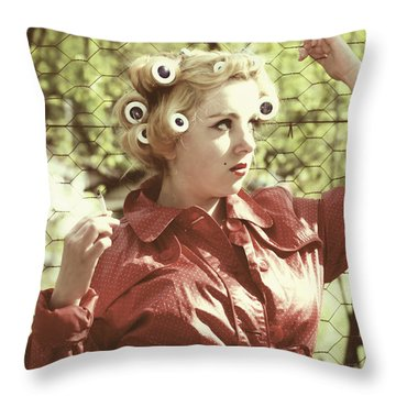 Woman With Rain Coat And Curlers Throw Pillow by Joana Kruse