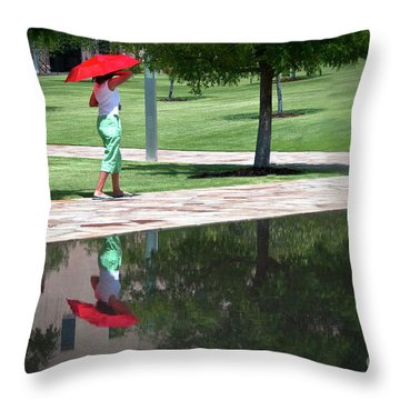 Woman With The Red Umbrella Throw Pillow by Tamyra Ayles