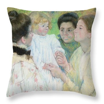 Women Admiring A Child Throw Pillow by Mary Stevenson Cassatt