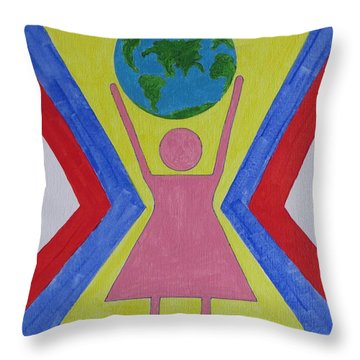 Women Rule The World Throw Pillow by Sonali Gangane