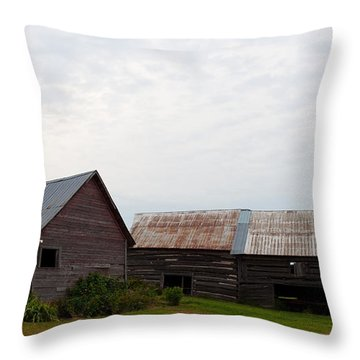 Throw Pillow featuring the photograph Wood And Log Sheds by Barbara McMahon