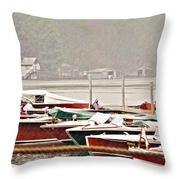 Wood Boats In The Rain Throw Pillow