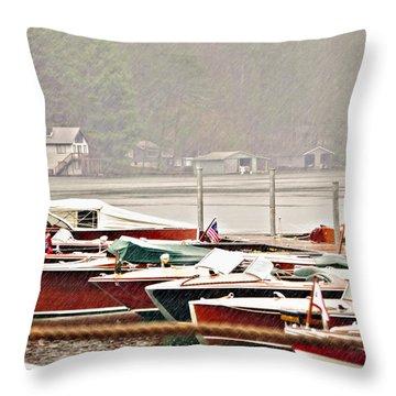Wood Boats In The Rain Throw Pillow by Susan Leggett