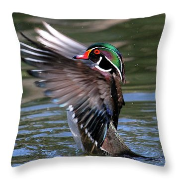 Wood Duck Stretch Throw Pillow
