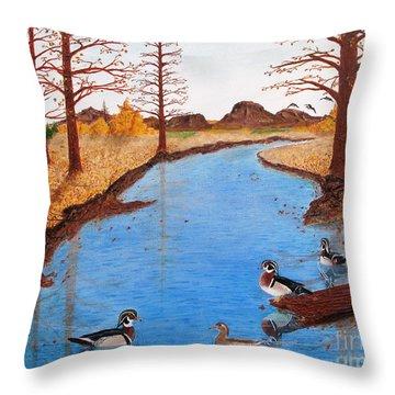 Wood Ducks On Jacobs' Creek Throw Pillow