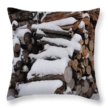 Throw Pillow featuring the photograph Wood Pile by Tiffany Erdman
