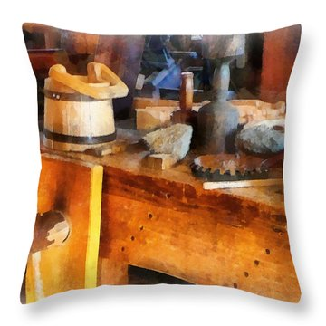 Wood Shop With Wooden Bucket Throw Pillow by Susan Savad