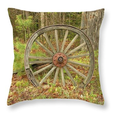 Throw Pillow featuring the photograph Wood Spoked Wheel by Sherman Perry