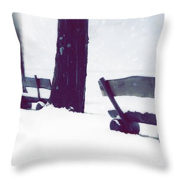 Wooden Benches In Snow Throw Pillow by Joana Kruse