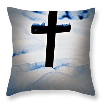 Wooden Cross Throw Pillow by Joana Kruse