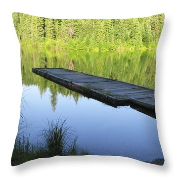 Wooden Dock On Lake Throw Pillow by Anne Mott