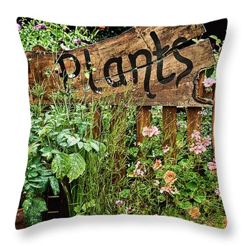 Wooden Plant Sign In Flowers Throw Pillow