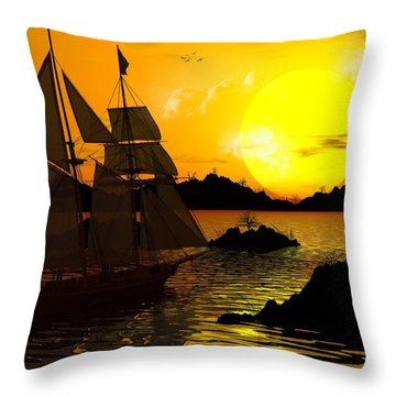 Wooden Ships Throw Pillow by Robert Orinski