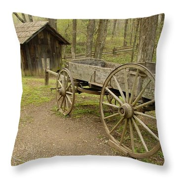 Wooden Wagon Throw Pillow by Cindy Manero