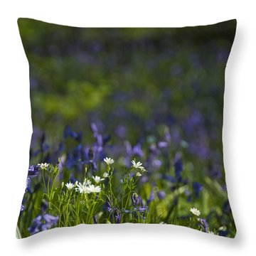 Woodland Flowers Throw Pillow by Trevor Chriss