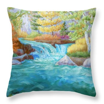 Woodland Stream Throw Pillow by Irene Hurdle