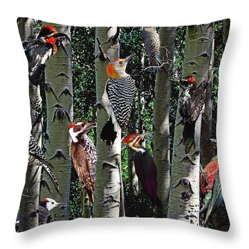 Woodpecker Collage Throw Pillow