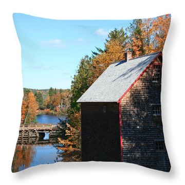 Throw Pillow featuring the photograph Working Gristmill by Barbara McMahon
