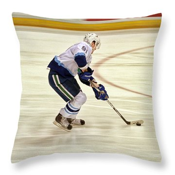 Working The Puck Throw Pillow by Karol Livote