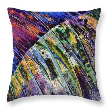World In A Spin Throw Pillow by Genevieve Brown
