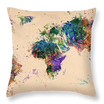 World Map 2 Throw Pillow by Mark Ashkenazi
