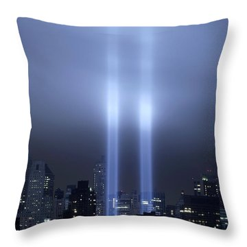 World Trade Center Memorial Lights Throw Pillow