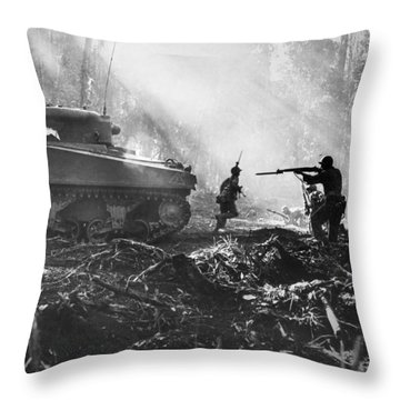 World War II: Bougainville Throw Pillow by Granger
