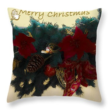 Wreath Garland Greeting Throw Pillow by DigiArt Diaries by Vicky B Fuller
