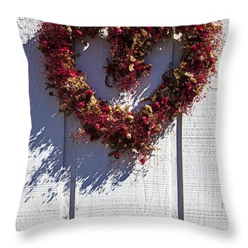 Wreath Heart On Wood Wall Throw Pillow by Garry Gay