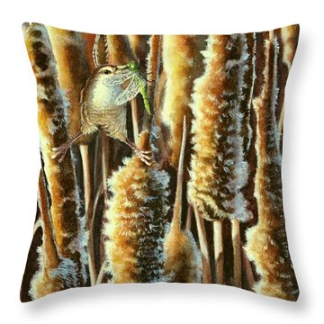 Wren And Cattails 2 Throw Pillow
