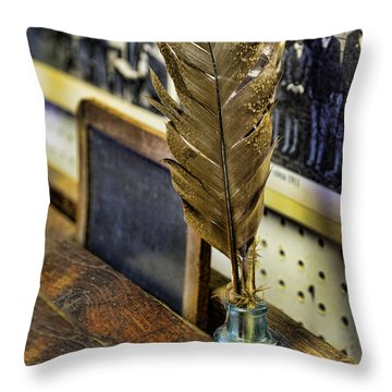 Writer - Quill And Ink Throw Pillow by Paul Ward