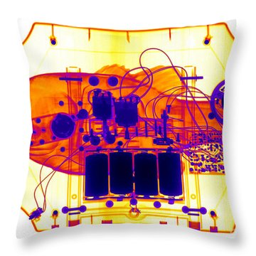 X-ray Of Mechanical Fish Throw Pillow by Ted Kinsman