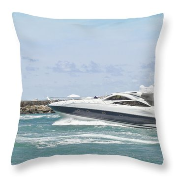 Yacht In Inlet Throw Pillow