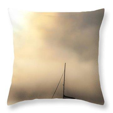 Yacht In Mist Throw Pillow by Avalon Fine Art Photography