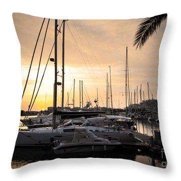 Yachts At Sunset Throw Pillow by Carlos Caetano