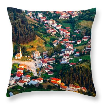 Yagodina Village Throw Pillow by Evgeni Dinev