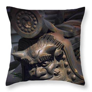 Yakushi-ji Temple Gate Gargoyle - Nara Japan Throw Pillow by Daniel Hagerman